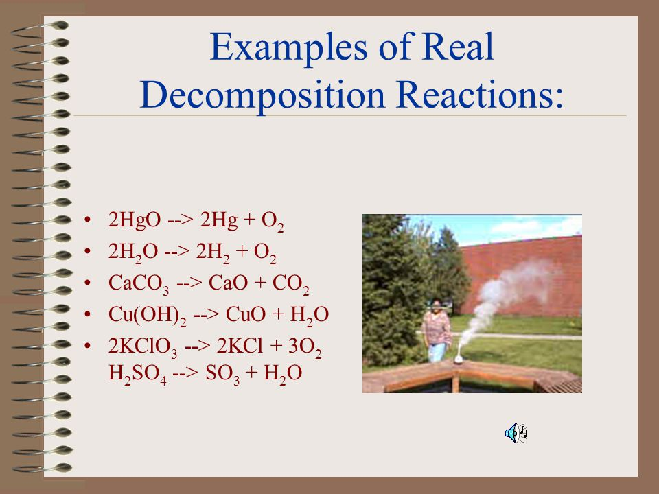 Decomposition Reactions: In a decomposition reaction, an compound is broken down into two simpler substances. The generic formula of a decomposition r