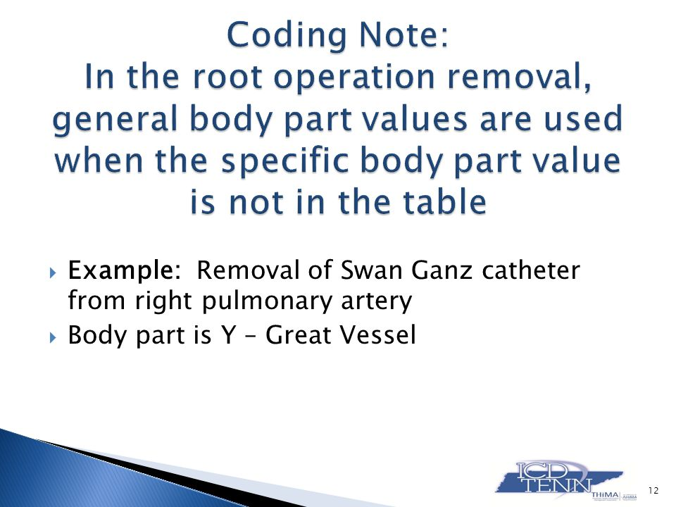 Example: Removal of Swan Ganz catheter from right pulmonary artery Body part is Y – Great Vessel 12