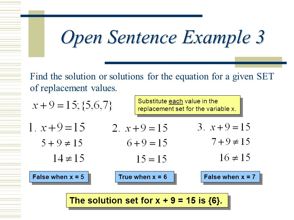 Find the solution or solutions for the equation for a given SET of replacement values. Substitute each value in the replacement set for the variable x