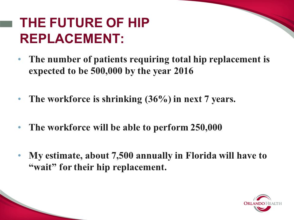 THE FUTURE OF HIP REPLACEMENT: The number of patients requiring total hip replacement is expected to be 500,000 by the year 2016 The workforce is shrinking (36%) in next 7 years.