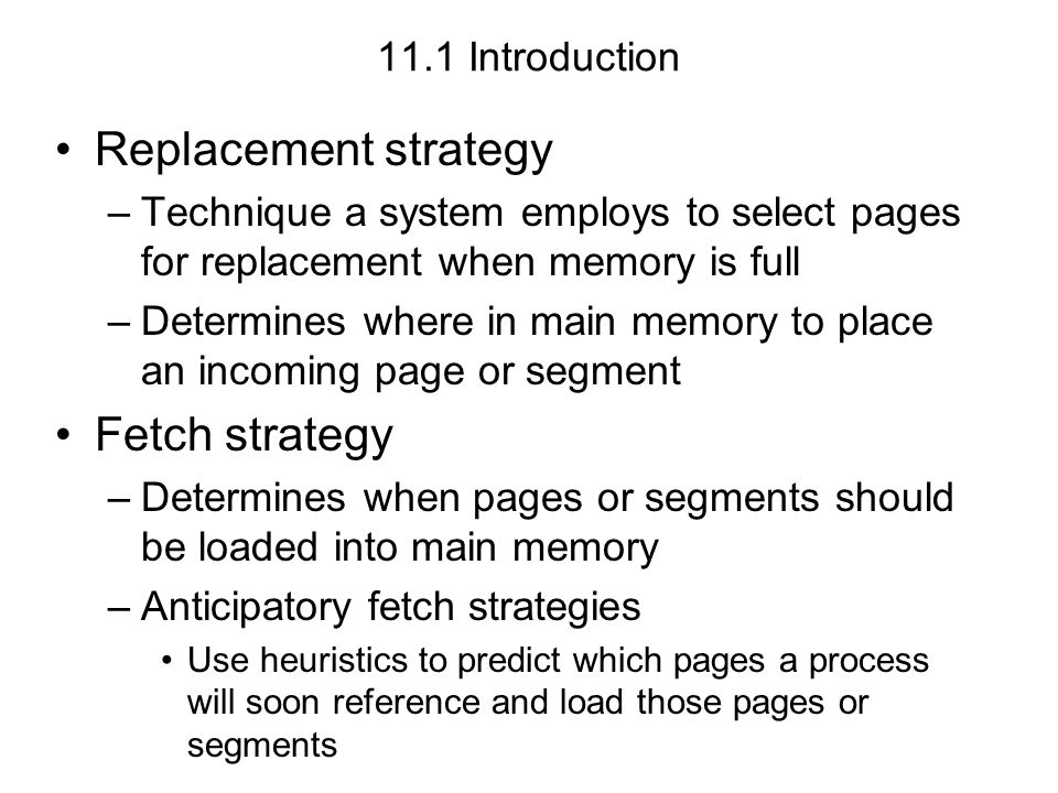11.7 Working Set Model For a program to run efficiently –The system must maintain that programs favored subset of pages in main memory Otherwise –The system might experience excessive paging activity causing low processor utilization called thrashing as the program repeatedly requests pages from secondary storage Because processes exhibit locality, increasing the number of page frames allocated to a process has little or no effect on its page fault rate at a certain threshold
