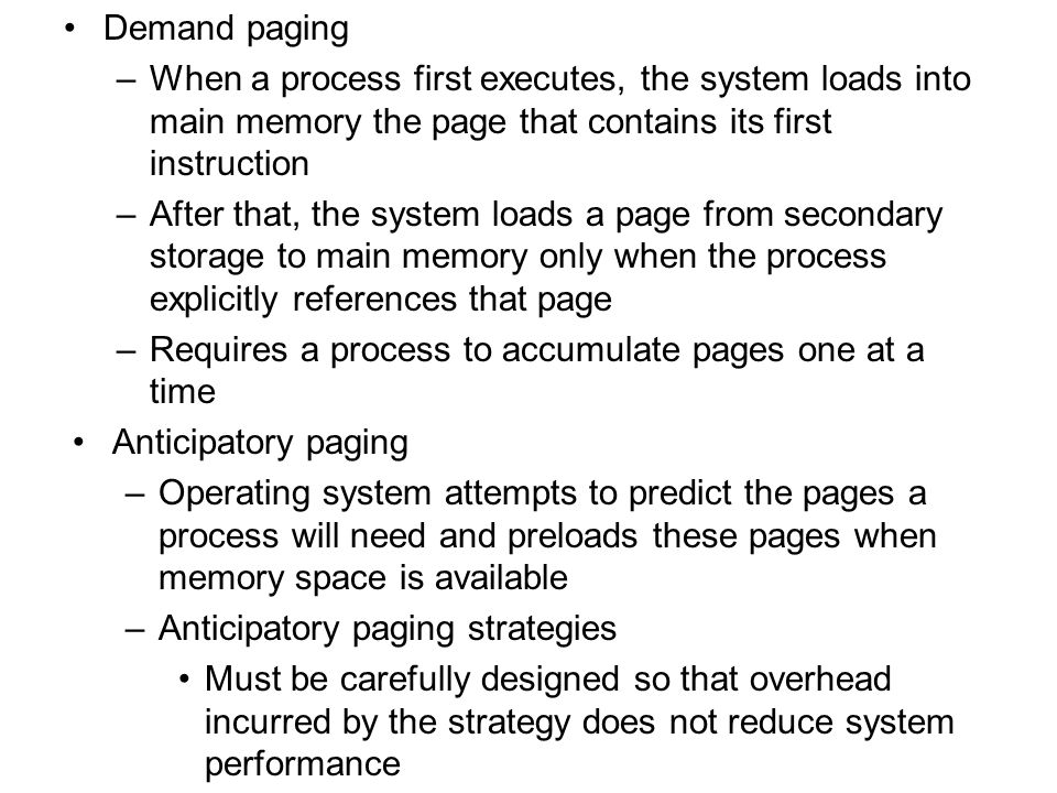 11.5 Page Replacement When a process generates a page fault, the memory manager must locate referenced page in secondary storage, load it into page frame in main memory and update corresponding page table entry Modified (dirty) bit –Set to 1 if page has been modified; 0 otherwise –Help systems quickly determine which pages have been modified Optimal page replacement strategy (OPT or MIN) –Obtains optimal performance, replaces the page that will not be referenced again until furthest into the future