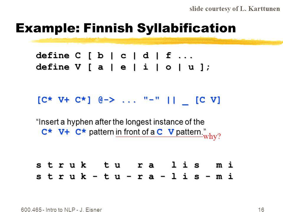 600.465 - Intro to NLP - J. Eisner16 Example: Finnish Syllabification define C [ b | c | d | f...