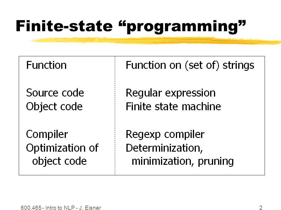 600.465 - Intro to NLP - J. Eisner2 Finite-state programming