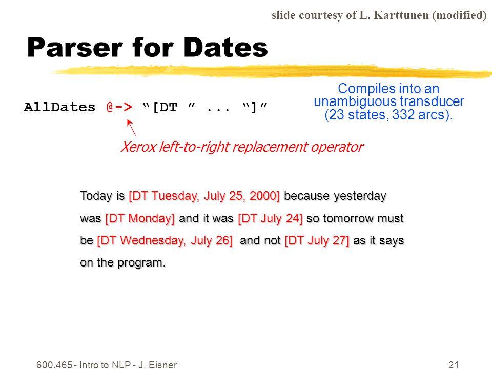 600.465 - Intro to NLP - J. Eisner21 Parser for Dates AllDates @-> [DT...