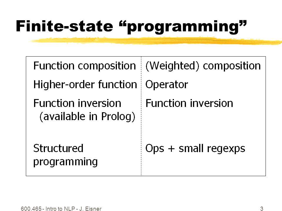 600.465 - Intro to NLP - J. Eisner3 Finite-state programming