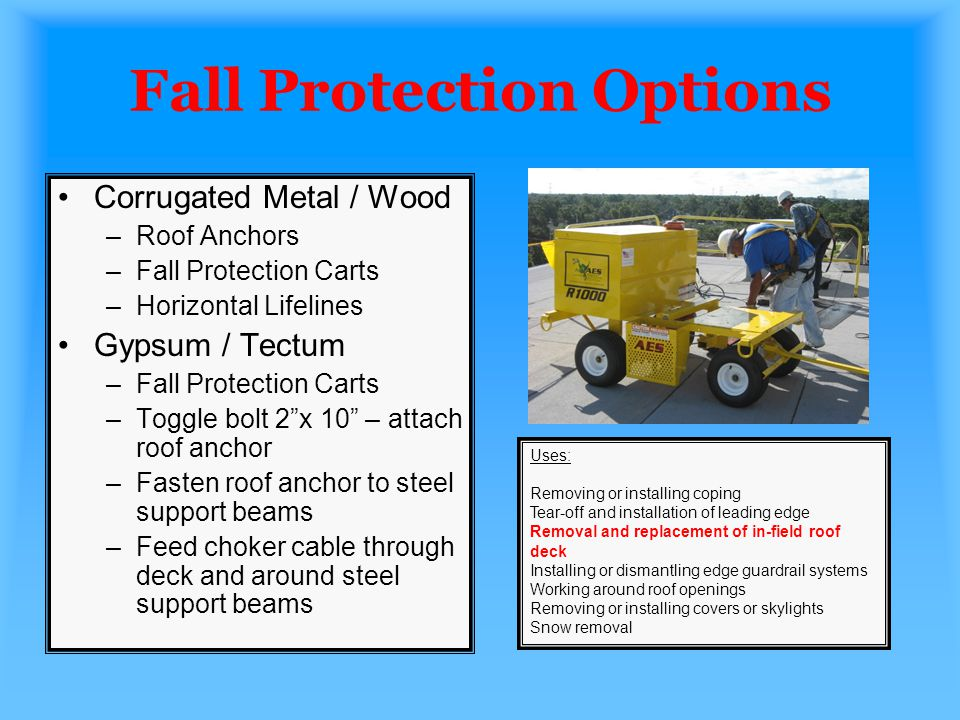 Fall Protection Options Corrugated Metal / Wood –Roof Anchors –Fall Protection Carts –Horizontal Lifelines Gypsum / Tectum –Fall Protection Carts –Tog