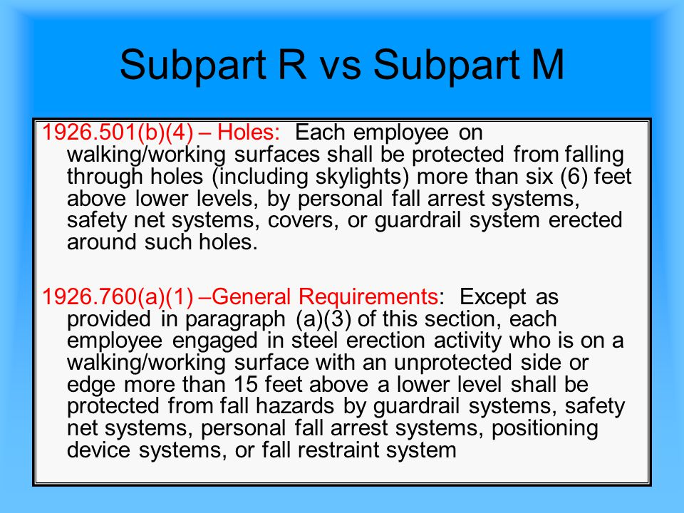 Subpart R vs Subpart M Question (1)(a): Scenario: A commercial roofing contractor is engaged in a re-roofing job.