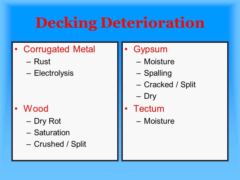 Decking Deterioration Corrugated Metal –Rust –Electrolysis Wood –Dry Rot –Saturation –Crushed / Split Gypsum –Moisture –Spalling –Cracked / Split –Dry