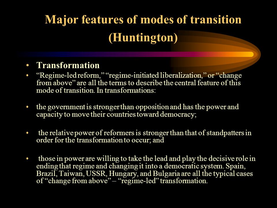 The Balance of Power The balance of power or the relative power of the groups shaped the nature of the transition process and often changed during that process.