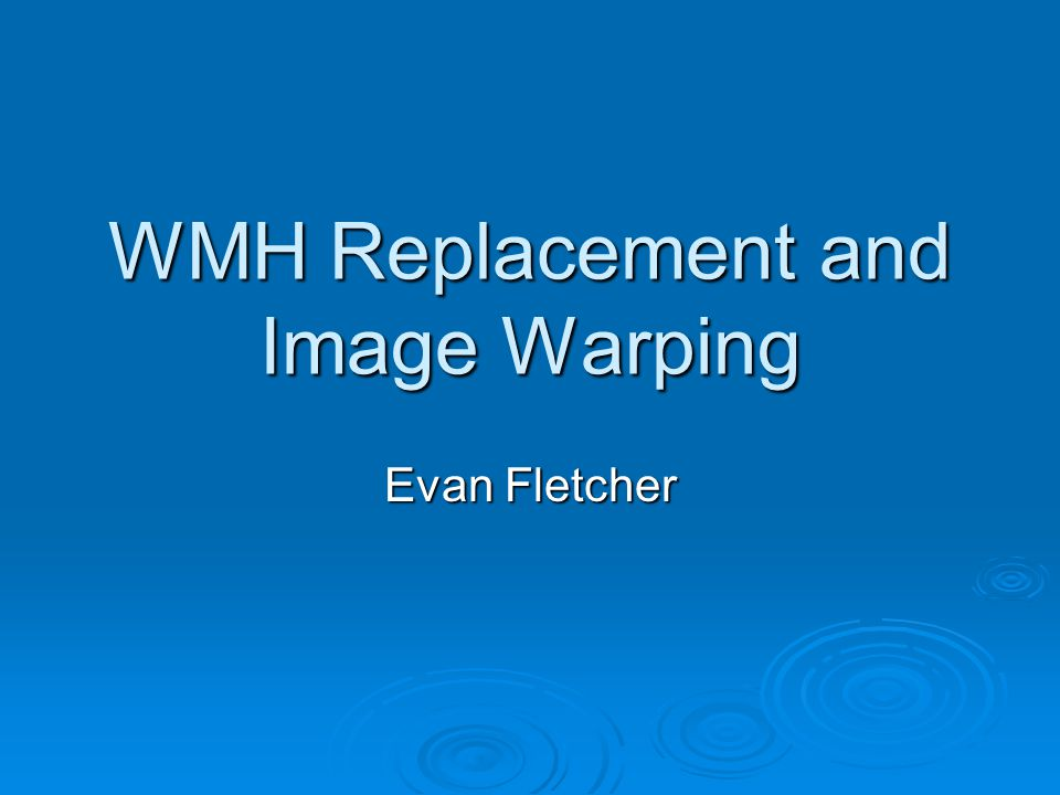 WMH Replacement and Image Warping Evan Fletcher