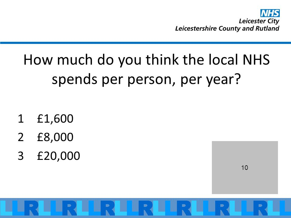 10 How much do you think the local NHS spends per person, per year 1£1,600 2£8,000 3£20,000
