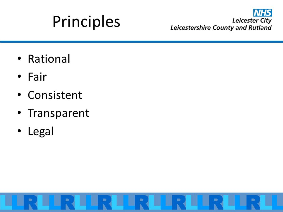 Principles Rational Fair Consistent Transparent Legal