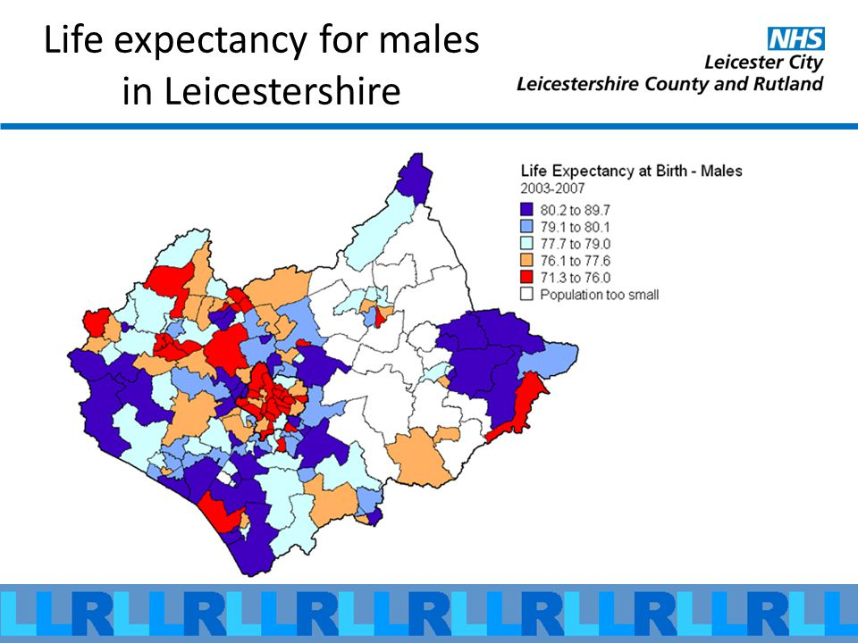 Life expectancy for males in Leicestershire