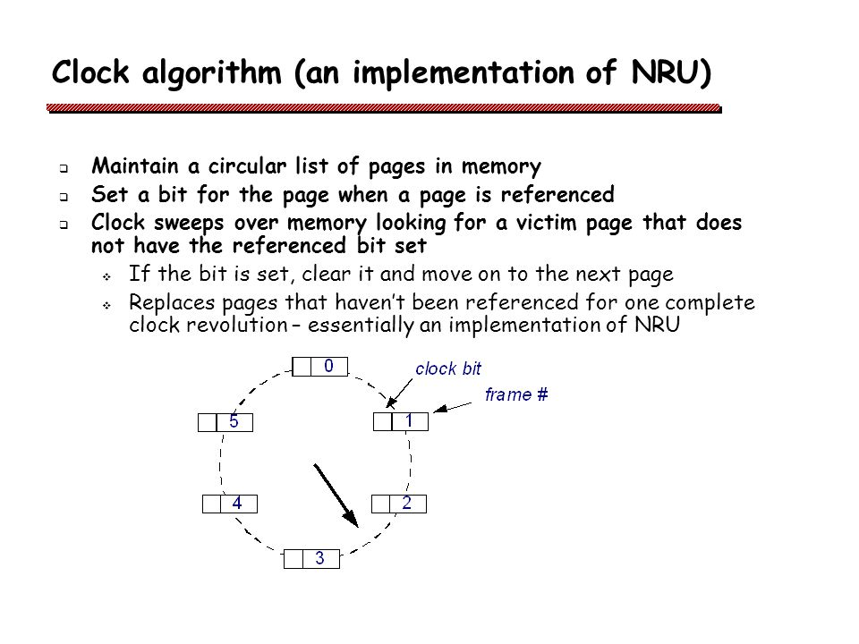 Clock algorithm (an implementation of NRU) Maintain a circular list of pages in memory Set a bit for the page when a page is referenced Clock sweeps over memory looking for a victim page that does not have the referenced bit set If the bit is set, clear it and move on to the next page Replaces pages that havent been referenced for one complete clock revolution – essentially an implementation of NRU