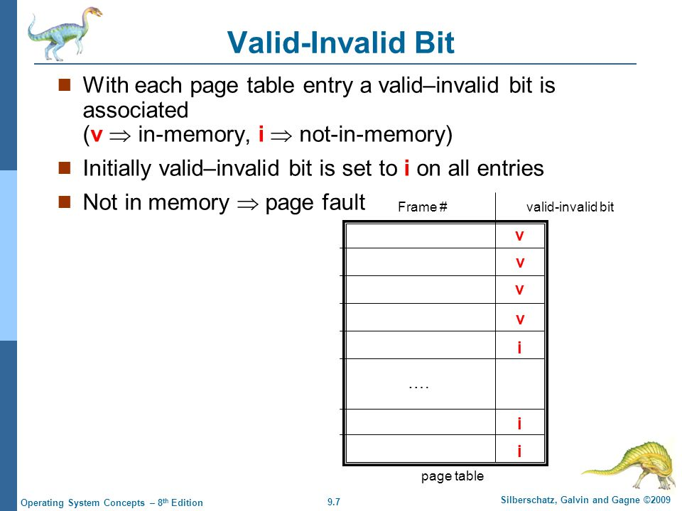 9.7 Silberschatz, Galvin and Gagne ©2009 Operating System Concepts – 8 th Edition Valid-Invalid Bit With each page table entry a valid–invalid bit is associated (v in-memory, i not-in-memory) Initially valid–invalid bit is set to i on all entries Not in memory page fault v v v v i i i ….