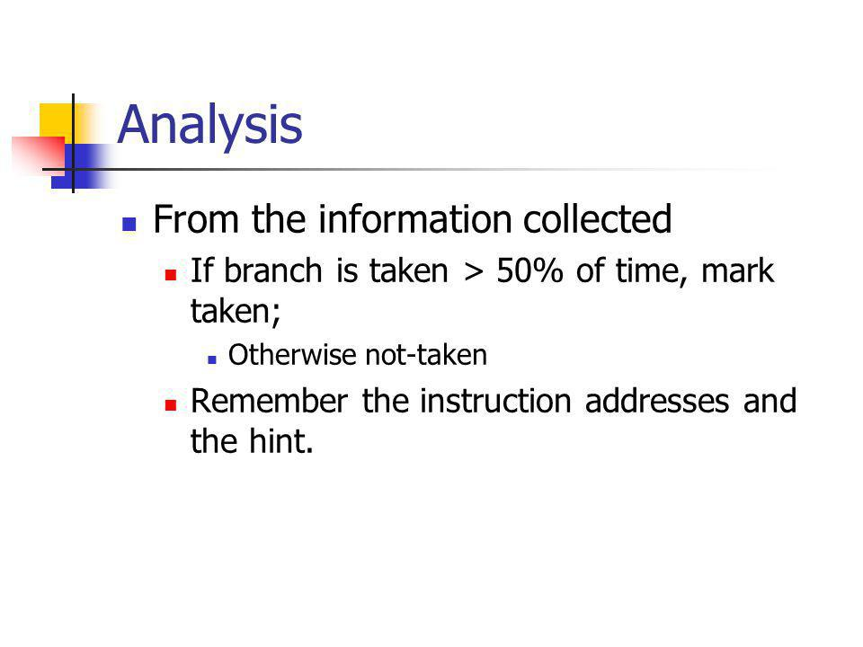 Analysis From the information collected If branch is taken > 50% of time, mark taken; Otherwise not-taken Remember the instruction addresses and the hint.