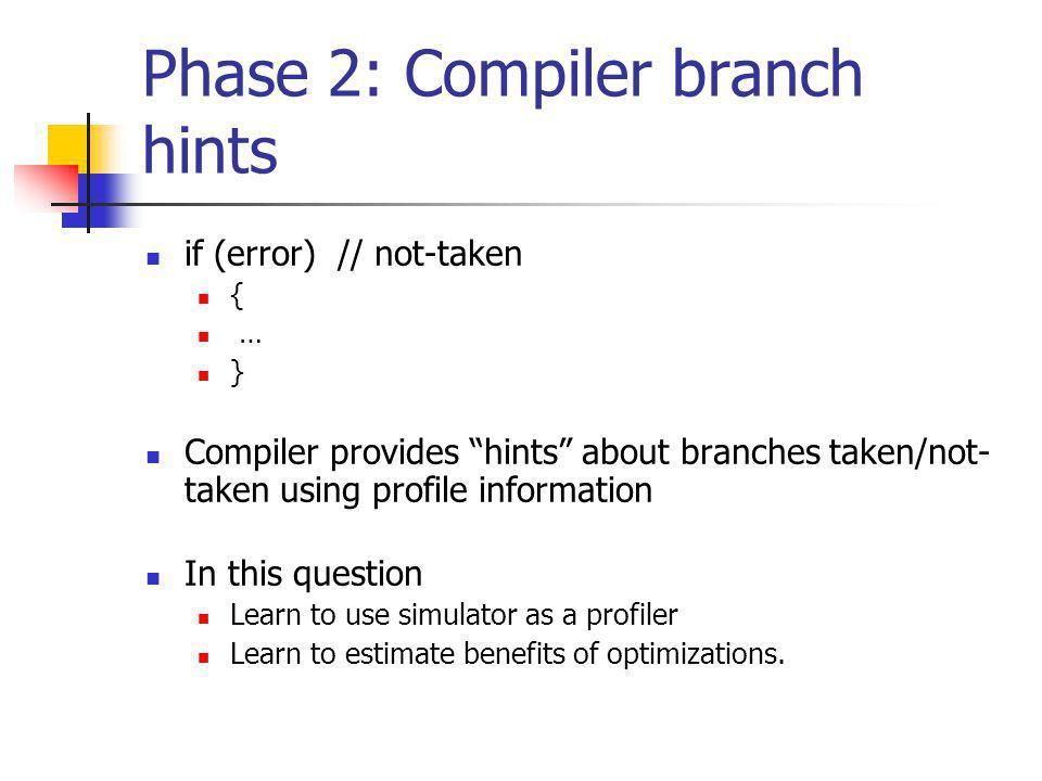 Phase 2: Compiler branch hints if (error) // not-taken { … } Compiler provides hints about branches taken/not- taken using profile information In this question Learn to use simulator as a profiler Learn to estimate benefits of optimizations.