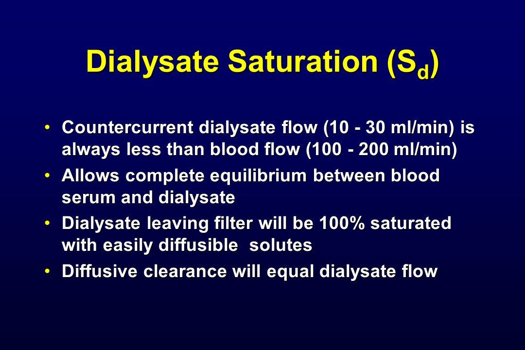 Dialysate Saturation (S d ) Countercurrent dialysate flow (10 - 30 ml/min) is always less than blood flow (100 - 200 ml/min)Countercurrent dialysate f