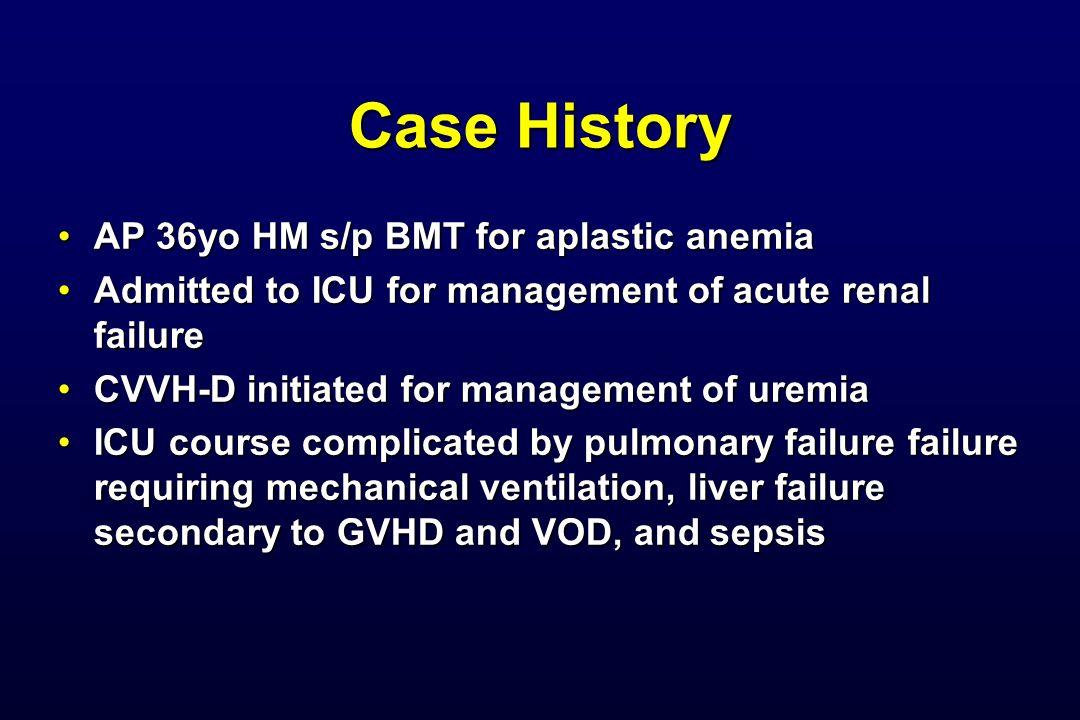 Case History AP 36yo HM s/p BMT for aplastic anemiaAP 36yo HM s/p BMT for aplastic anemia Admitted to ICU for management of acute renal failureAdmitte