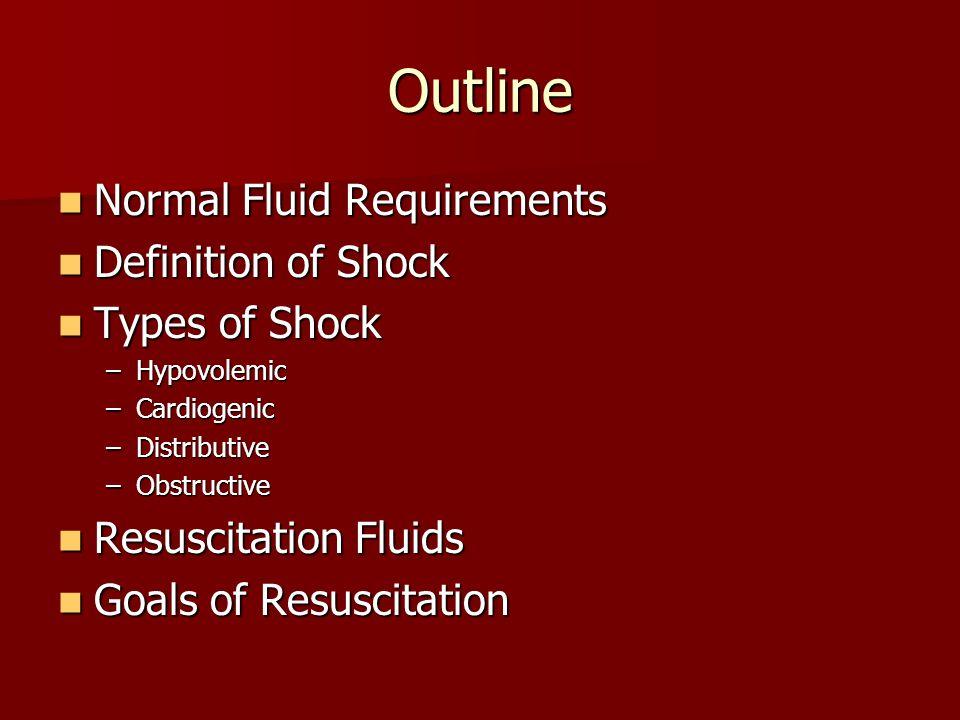 Outline Normal Fluid Requirements Normal Fluid Requirements Definition of Shock Definition of Shock Types of Shock Types of Shock –Hypovolemic –Cardiogenic –Distributive –Obstructive Resuscitation Fluids Resuscitation Fluids Goals of Resuscitation Goals of Resuscitation