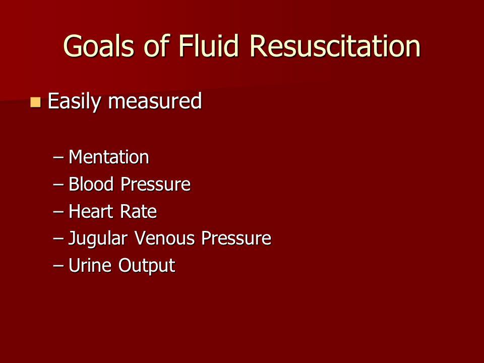 Goals of Fluid Resuscitation Easily measured Easily measured –Mentation –Blood Pressure –Heart Rate –Jugular Venous Pressure –Urine Output