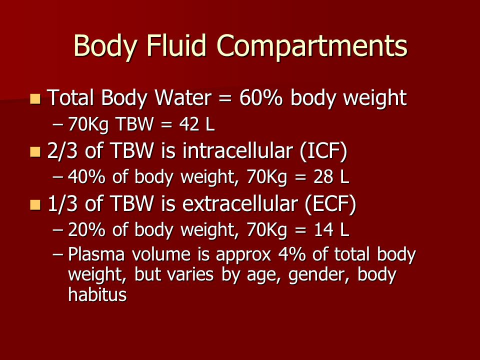 Body Fluid Compartments Total Body Water = 60% body weight Total Body Water = 60% body weight –70Kg TBW = 42 L 2/3 of TBW is intracellular (ICF) 2/3 of TBW is intracellular (ICF) –40% of body weight, 70Kg = 28 L 1/3 of TBW is extracellular (ECF) 1/3 of TBW is extracellular (ECF) –20% of body weight, 70Kg = 14 L –Plasma volume is approx 4% of total body weight, but varies by age, gender, body habitus