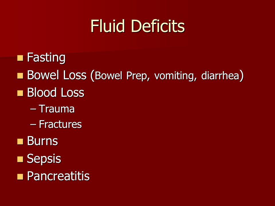 Fluid Deficits Fasting Fasting Bowel Loss ( Bowel Prep, vomiting, diarrhea ) Bowel Loss ( Bowel Prep, vomiting, diarrhea ) Blood Loss Blood Loss –Trauma –Fractures Burns Burns Sepsis Sepsis Pancreatitis Pancreatitis