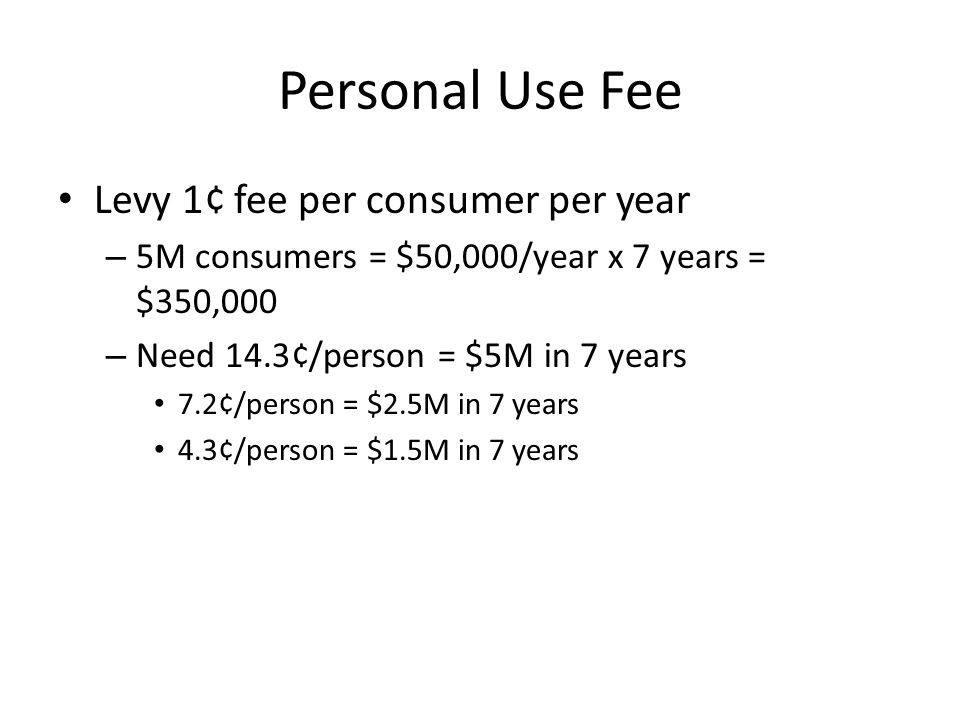 Personal Use Fee Levy 1¢ fee per consumer per year – 5M consumers = $50,000/year x 7 years = $350,000 – Need 14.3¢/person = $5M in 7 years 7.2¢/person = $2.5M in 7 years 4.3¢/person = $1.5M in 7 years
