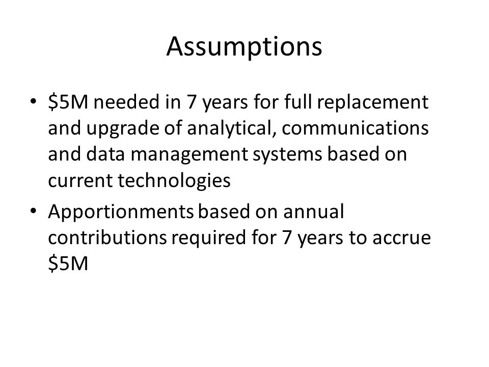 Assumptions $5M needed in 7 years for full replacement and upgrade of analytical, communications and data management systems based on current technologies Apportionments based on annual contributions required for 7 years to accrue $5M