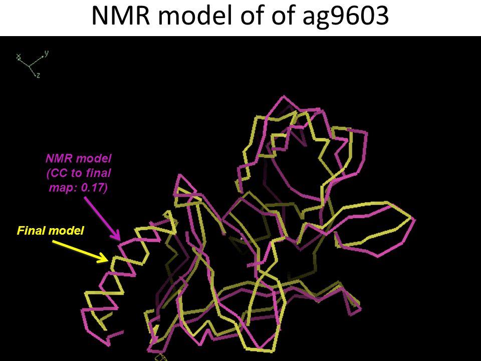 NMR model of of ag9603 NMR model (CC to final map: 0.17) Final model