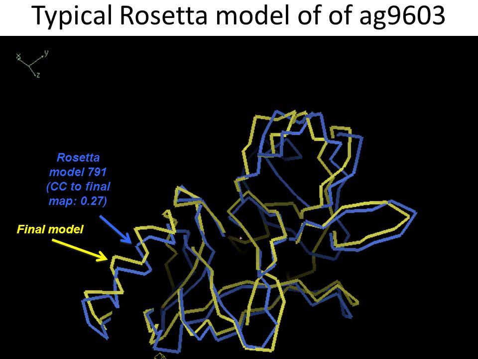 Typical Rosetta model of of ag9603 Final model Rosetta model 791 (CC to final map: 0.27)