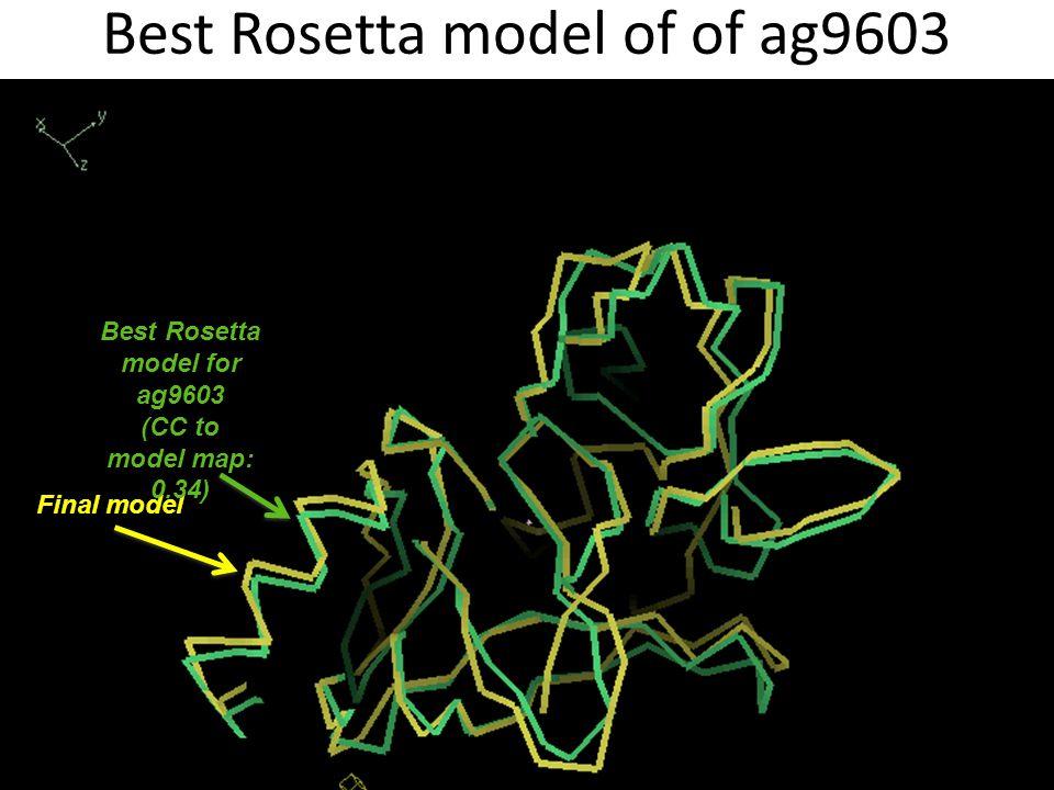 Best Rosetta model of of ag9603 Final model Best Rosetta model for ag9603 (CC to model map: 0.34)
