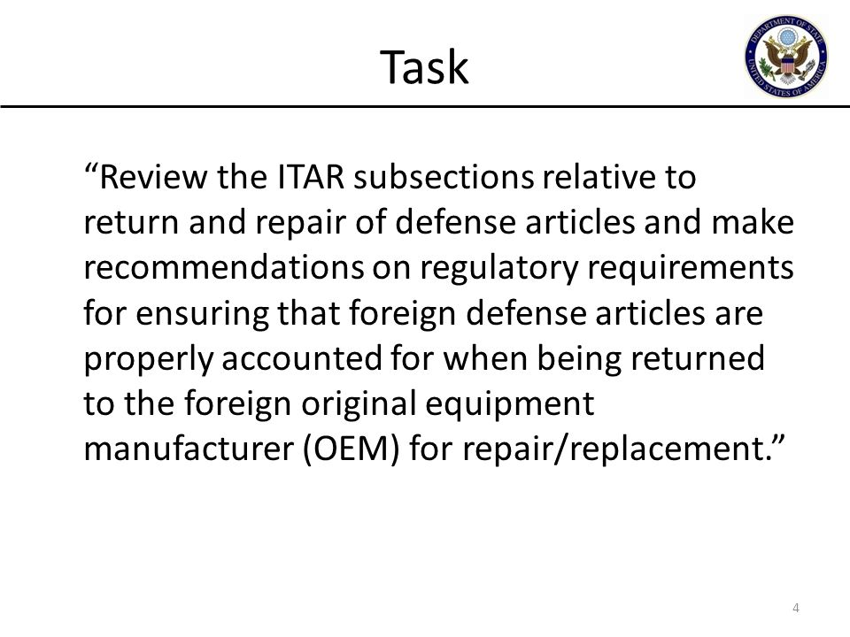 Task Review the ITAR subsections relative to return and repair of defense articles and make recommendations on regulatory requirements for ensuring that foreign defense articles are properly accounted for when being returned to the foreign original equipment manufacturer (OEM) for repair/replacement.