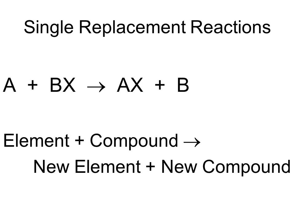 Single Replacement Reactions A + BX AX + B Element + Compound New Element + New Compound