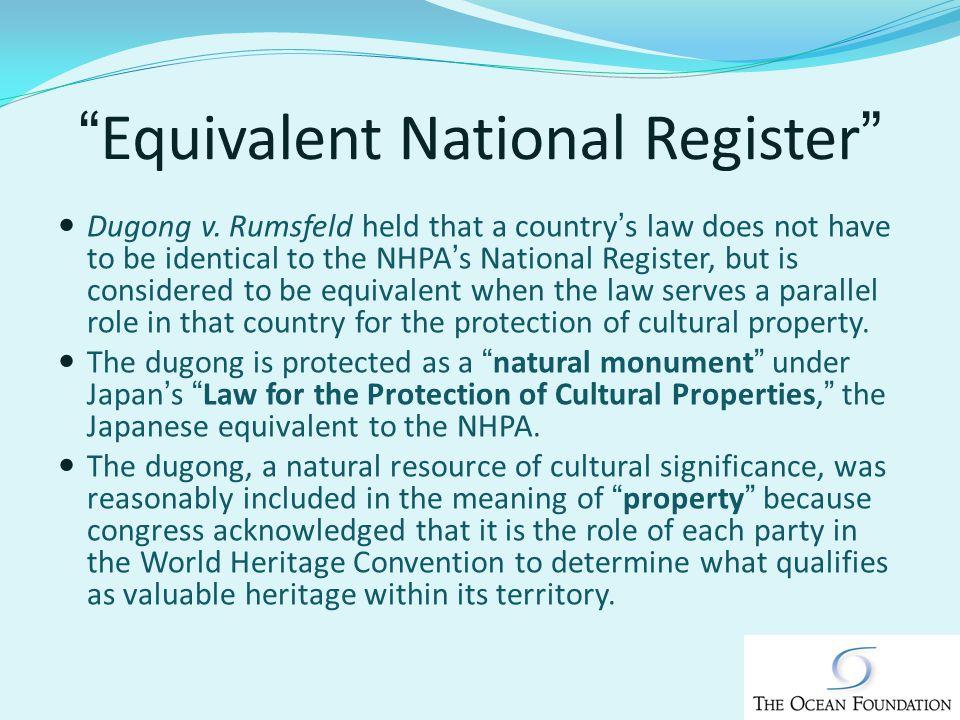 Equivalent National Register Dugong v.