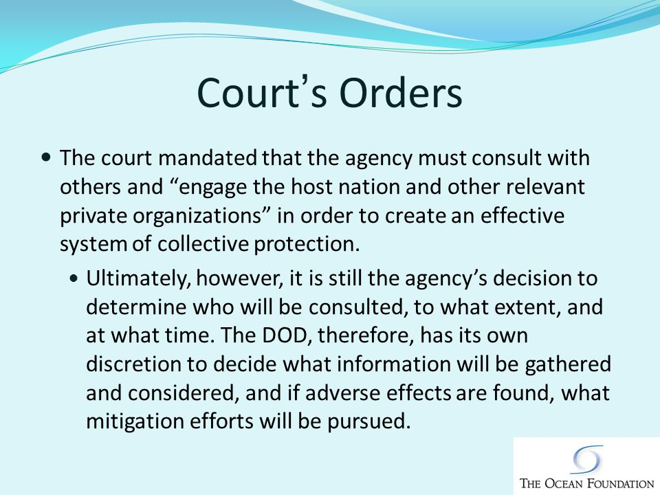 Courts Orders The court mandated that the agency must consult with others and engage the host nation and other relevant private organizations in order to create an effective system of collective protection.