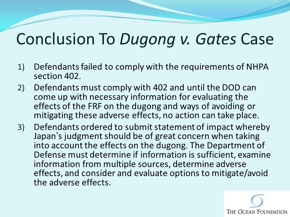 Conclusion To Dugong v.