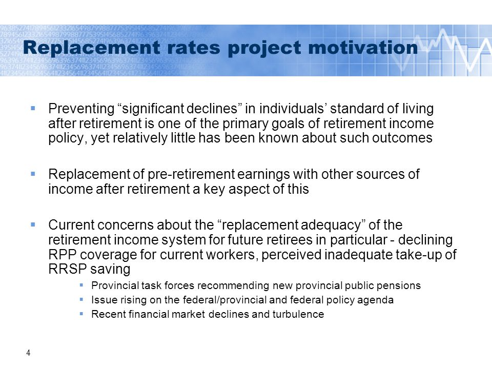15 Increasing numbers of individuals with low replacement rates across entire pre-retirement earnings distribution; the proportion rises sharply with earnings Source: LifePaths (5.0.6), January 2010