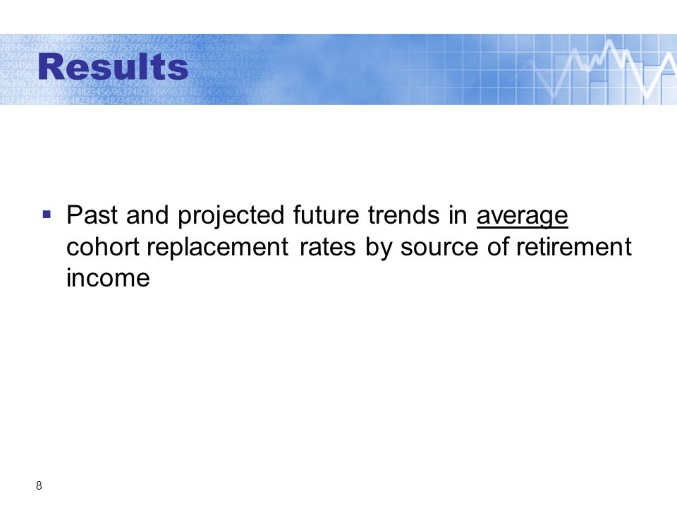 8 Past and projected future trends in average cohort replacement rates by source of retirement income Results