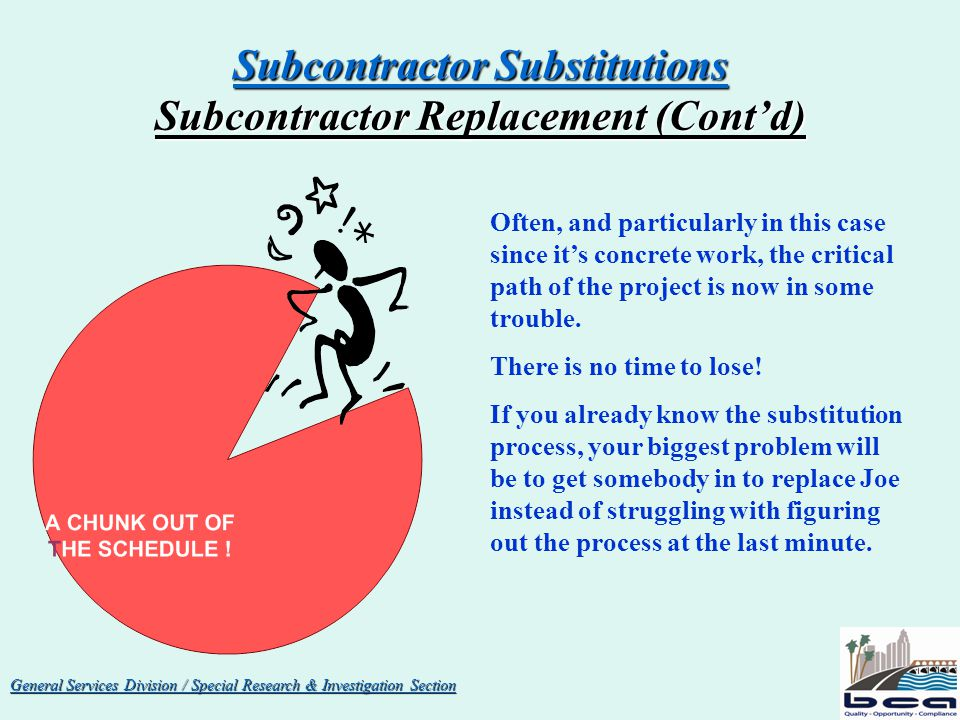 General Services Division / Special Research & Investigation Section Subcontractor Substitutions Substitution Requests (Hearing Process) If BCA does not receive a written response from the subcontractor within 5 days of it receiving the certified letter, BCA makes its recommendation to the Board to approve the substitution since the effected sub, by failing to respond, has waived its right to a hearing.