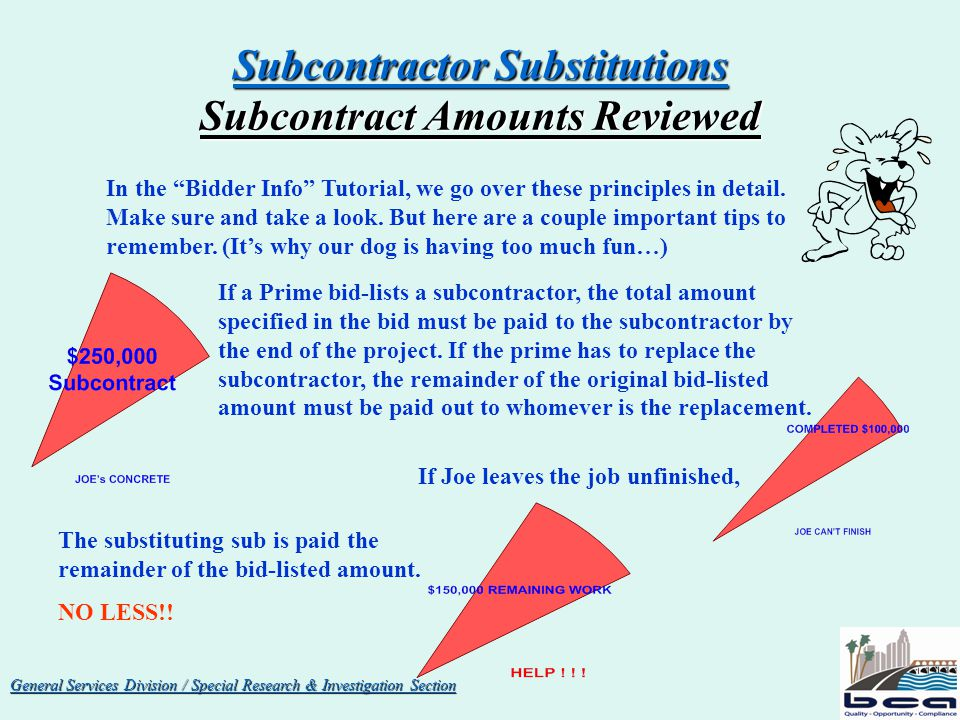 General Services Division / Special Research & Investigation Section Subcontractor Substitutions Subcontract Amounts Reviewed GREAT NEWS .