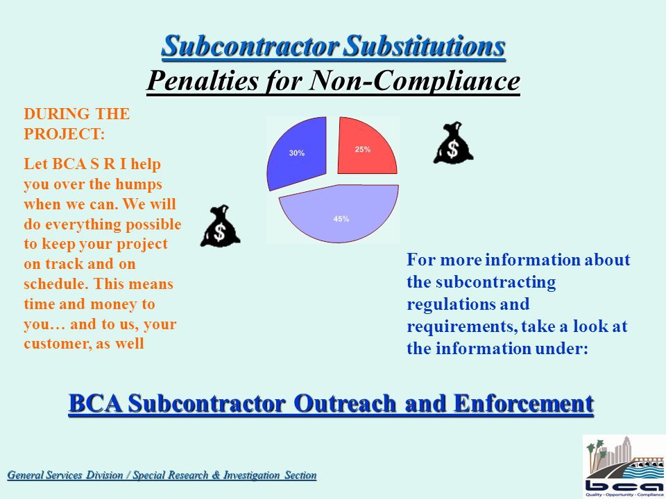 General Services Division / Special Research & Investigation Section The INSPECTOR of PUBLIC WORKS is the Designated Authority on ALL subcontracting matters for the BOARD of PUBLIC WORKS BOARD of PUBLIC WORKS The Required Procedures for obtaining approval of subcontractors for work on Public Projects are not complex.