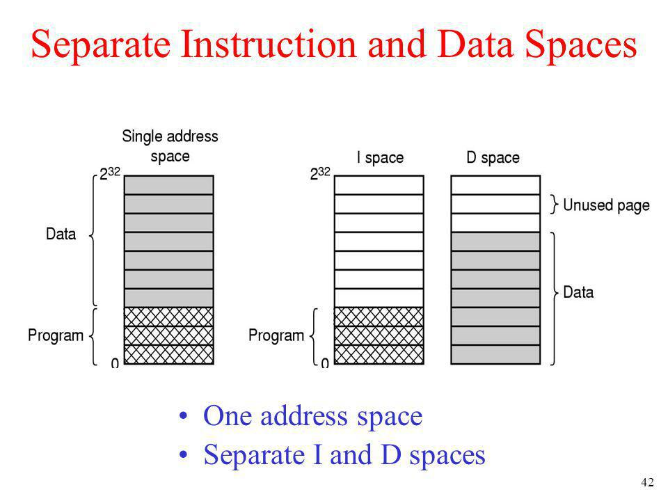42 Separate Instruction and Data Spaces One address space Separate I and D spaces
