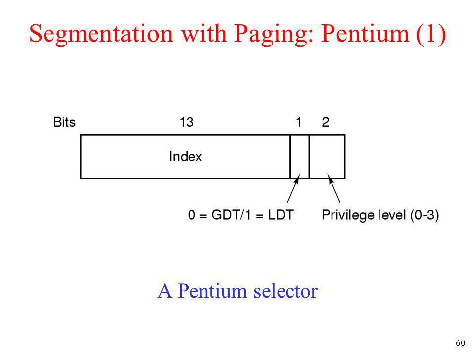 60 Segmentation with Paging: Pentium (1) A Pentium selector