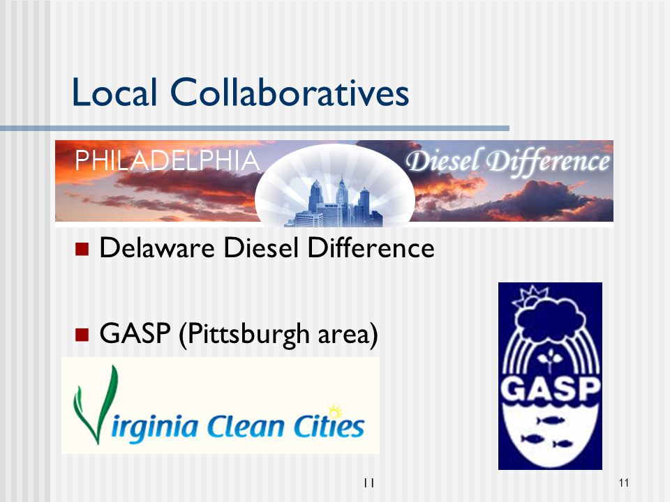 11 Local Collaboratives Philadelphia Diesel Difference Delaware Diesel Difference GASP (Pittsburgh area) Virginia Clean Cities