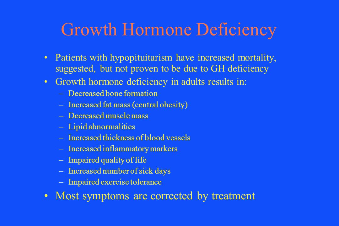 Growth Hormone Deficiency Patients with hypopituitarism have increased mortality, suggested, but not proven to be due to GH deficiency Growth hormone