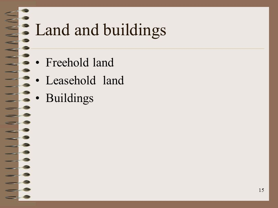 15 Land and buildings Freehold land Leasehold land Buildings