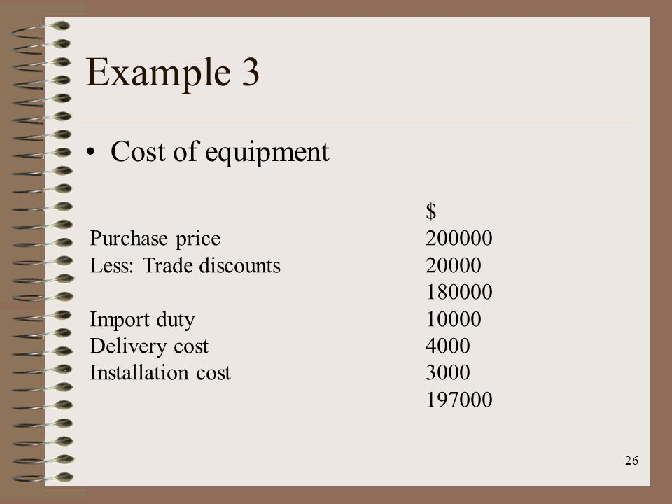 26 Example 3 Cost of equipment $ Purchase price200000 Less: Trade discounts20000 180000 Import duty10000 Delivery cost4000 Installation cost3000 19700