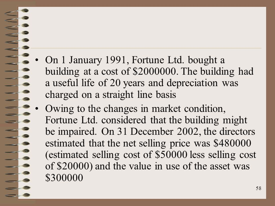 58 On 1 January 1991, Fortune Ltd. bought a building at a cost of $2000000.
